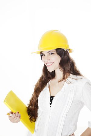 female architect: Happy female architect isolated on white Stock Photo