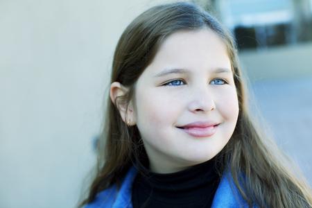10 11 years: Happy little girl portraitHappy little girl portrait Stock Photo