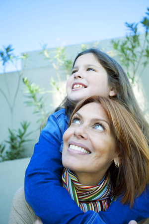 10 11 years: Happy mother and daughter having fun Stock Photo
