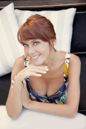 40 44 years: Adult beautiful woman portrait, smiling Stock Photo