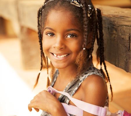 Happy african american girl portrait photo
