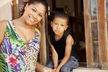 African american mother and son photo