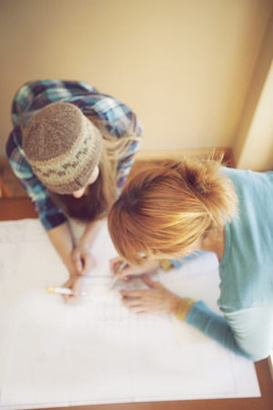 architect: Happy female architect teamwork Stock Photo