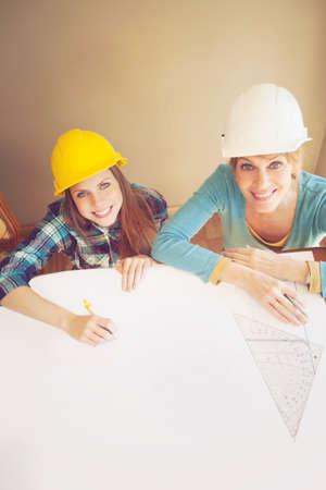 female architect: Happy female architect teamwork Stock Photo