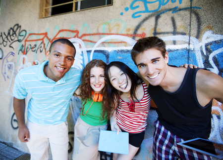 chinese american ethnicity: Multiethnic group of friends having fun