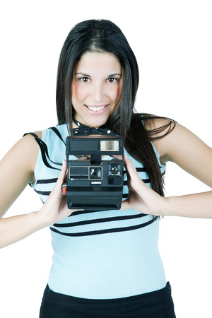 instant camera: Happy woman with instant camera Stock Photo