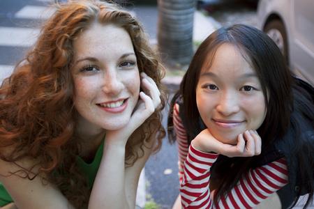 chinese american ethnicity: Happy multiethnic friends