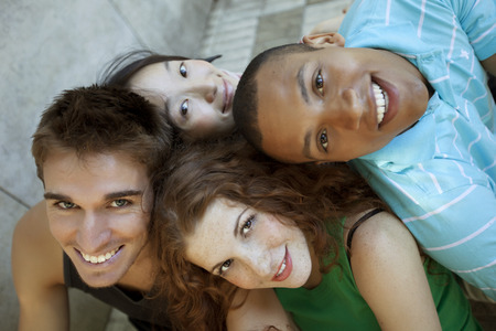 chinese american ethnicity: Happy multiethnic group of friends