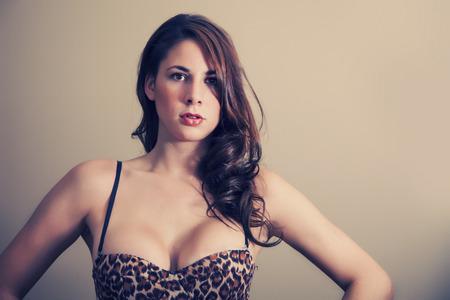 animal sex: Sexy woman with leopard print bra