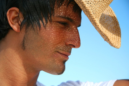 straw hat: Man with straw hat Stock Photo