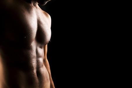 sin camisa: Cuerpo atractivo del hombre Foto de archivo