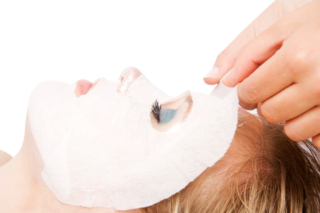beauty spa: Woman in spa with mask