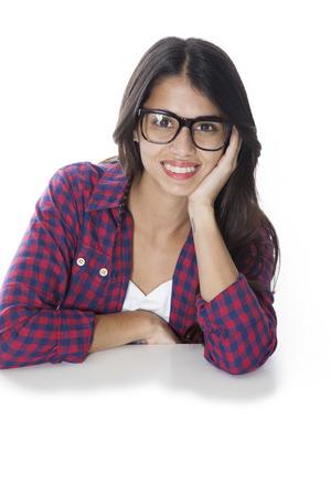 woman wearing glasses: Happy woman wearing glasses
