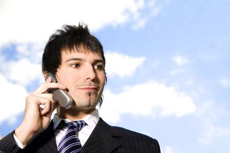 cel: Business man on the phone Stock Photo