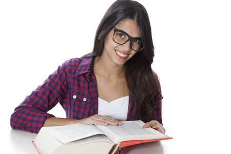 young  brunette: Happy female student reading