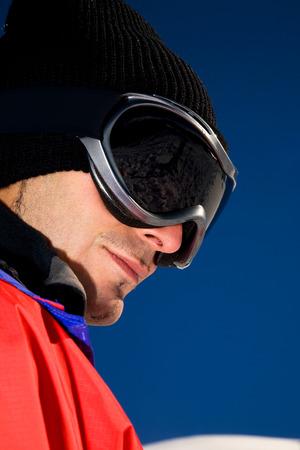 goggles: Man wearing ski goggles