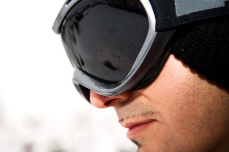 ski goggles: Man wearing ski goggles