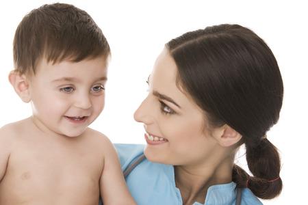pediatra: Baby boy and pediatrician Foto de archivo