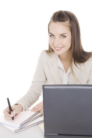 working woman: Happy business woman working