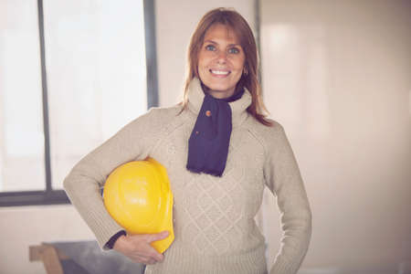 female architect: Female architect working in construction Stock Photo