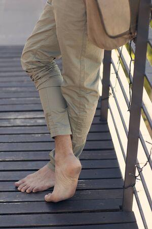 barefoot man: Barefoot man Stock Photo