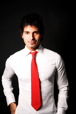 red tie: Business man with red tie Stock Photo