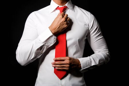 red tie: Man with red tie