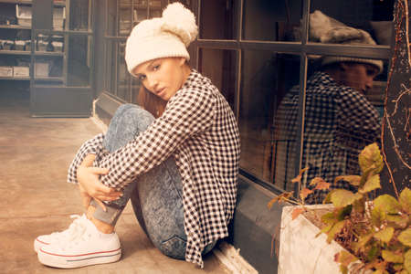 the caucasian beauty: Sad teen girl Stock Photo