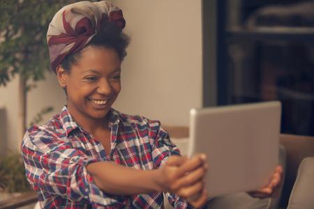 african american woman: African american woman with tablet
