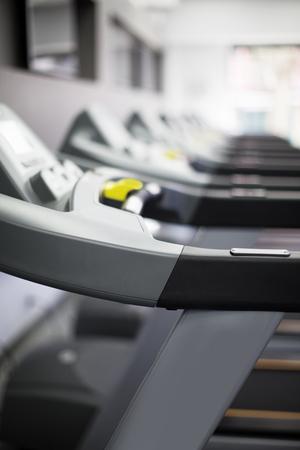 machines: Treadmills machines at fitness center Stock Photo