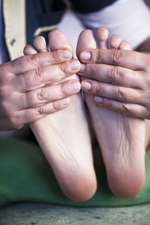 salon and spa: Feet massage in spa salon