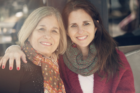 daugther: Happy senior mother and daugther portrait