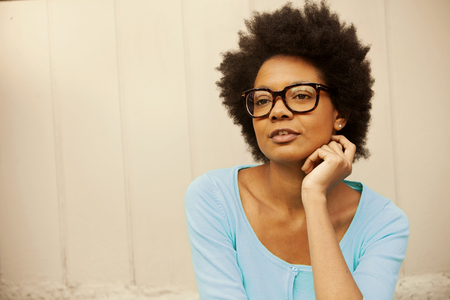 african american woman: African american young woman wearing glasses