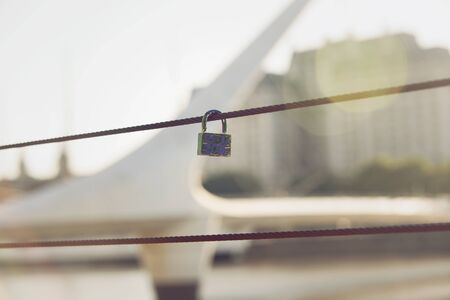 mujer: Lock in Puente de la Mujer in Buenos Aires, Argentina