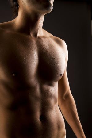 Sexy shirtless fit man body