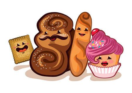 Illustration of a happy pastry family. Each family member is nested in its own group, for easy editing.