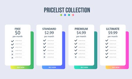 Vector pricing plan banners infographic template. Marketing presentation slide. Business labels concept infographics. 3, 4 options, parts, steps, processes.