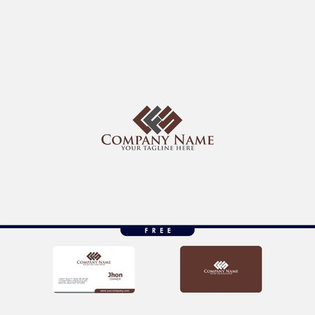 Letters F, F&S joint logo icon with business card vector template