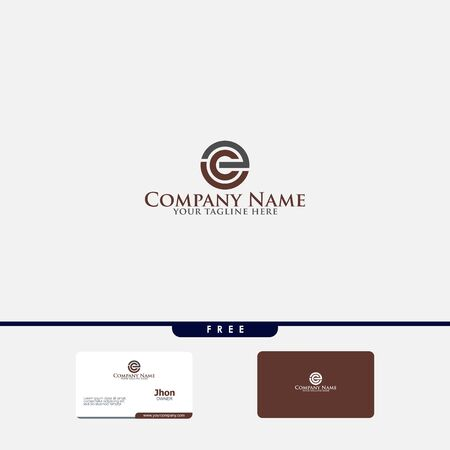 Letters B C, E&S joint logo icon with business card vector template