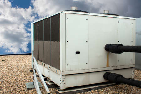 chiller: A front side view of a rooftop chiller Stock Photo