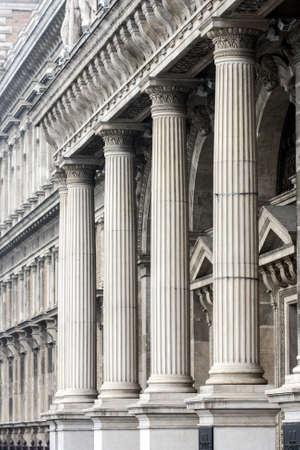 Four white concrete pillar in architecture Banco de Imagens