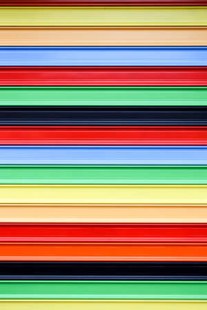 silver plated: A colorfu steel roller shutter on a shop. Stock Photo