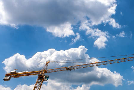 personal perspective: Part of a Construction Crane with cloudy background Stock Photo