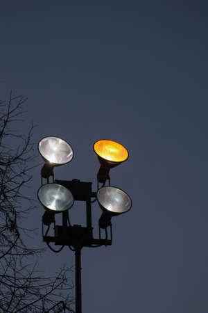 reflectors: reflectors work, white and yellow light Stock Photo