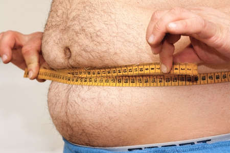 bodyparts: Fat man and measuring tape