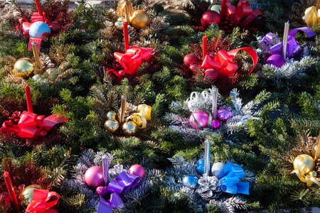 fake christmas tree: Christmas decorations with candles on the market
