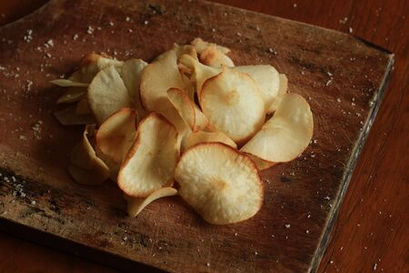 Crispy tapioca chips on the table