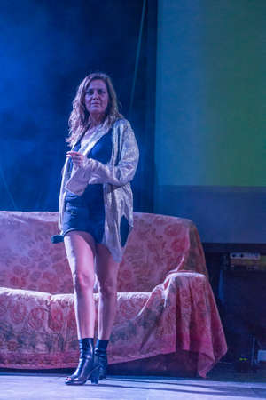 milánó: Bergamo, Italy. 23st July 2017. Italian singer Irene Grandi performs at the Rock sul Serio festival. Brambilla Simone Photography Live News