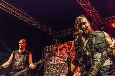 meta: Bergamo, Italy. 26th August 2017. Rock Metal band Ulvedharr performs at the Pollo Metal Fest. Brambilla Simone Photography Live News
