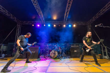 Bergamo, Italy. 26th August 2017. rock band Viscera performs at the Pollo Metal fest. Brambilla Simone Photography Live News Editorial